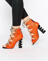 Kat Maconie Betsy Vivid Coral Ghillie Multi Lace Heeled Sandals