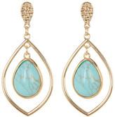 Natasha Accessories Teardrop Stone Open Drop Earrings