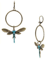 Betsey Johnson Throwback Betsey Crystal Pave Dragonfly Gypsy Hoop Earrings