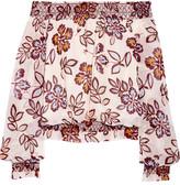 Tory Burch Indie Off-the-shoulder Printed Silk-georgette Top - Ivory