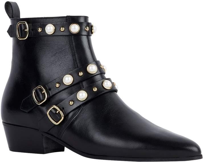 le dernier 14fc4 597f8 Leather Embellished Buckle Boots