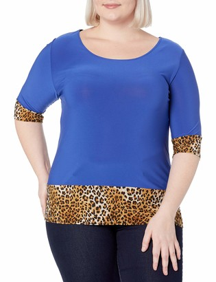 Star Vixen Women's Plus-Size 3/4 Sleeve Scoop Neck Tunic-Length Solid Colorblock Ity Top Cuffs and Hem