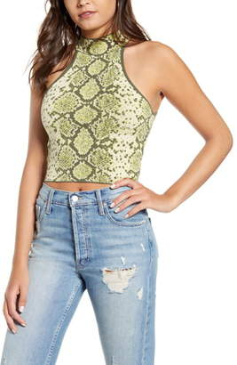 J.o.a. Snake Pattern Sleeveless Crop Sweater