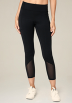 Bebe Mesh Detail Crop Leggings