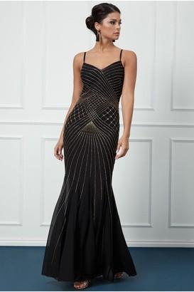 Goddiva Sleeveless Embellished Maxi Dress - Black