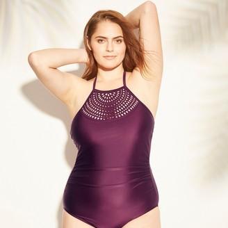 Women's Tall/Long Torso Laser Cut High Neck One Piece Swimsuit - Kona SolTM Atlantic Burgundy
