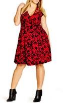 City Chic Plus Size Women's Flocked Cap Sleeve V-Neck Dress