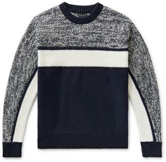 Club Monaco Colour-Block Melange Cotton-Blend Sweater
