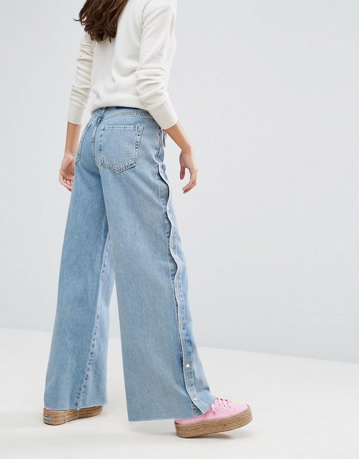 Pull&Bear Wide Leg Popper Detail Jeans