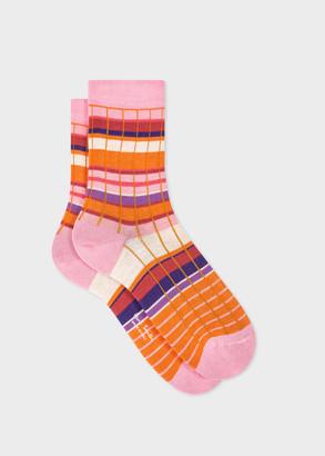 Paul Smith Women's Pink Stripe Ribbed Socks