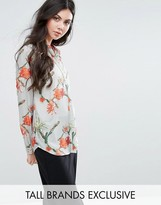 Y.A.S Tall Cactus Printed Button Front Blouse