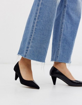Asos Design DESIGN Summary mid-heeled court shoes in black