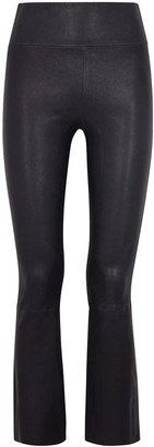 Sprwmn Navy Flared Leather Trousers