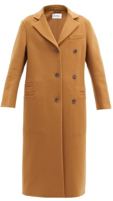 Salvatore Ferragamo Asymmetric Wool-blend Coat - Brown