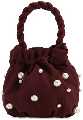STAUD Grace Satin Bag W/ Faux Pearls