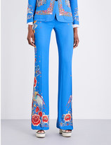 Roberto Cavalli Floral-print flared twill trousers