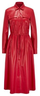 HUGO BOSS Long Sleeved Shirt Dress In Faux Leather - Red