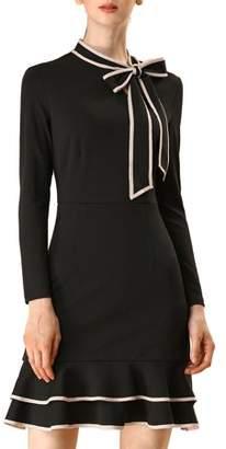 Unique Bargains Women's Tie Neck Contrast Piping Slim Ruffle Hem A-Line Dress XL Black