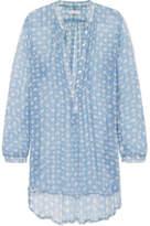 Cloe Cassandro - Andrea Printed Silk-crepon Tunic - Light blue