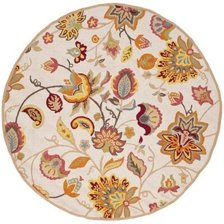 Charlton Home Carvalho Floral Hand-Hooked Yellow/Ivory Indoor/Outdoor Area Rug Rug Size: Round 4'