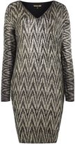 Biba Metallic printed v-neck jumper dress