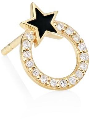 Sydney Evan 14K Yellow Gold, Diamond & Enamel Star Circle Stud Earring