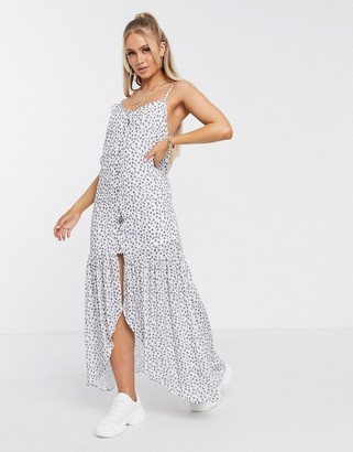 NA-KD floral sheer overlay maxi dress in white