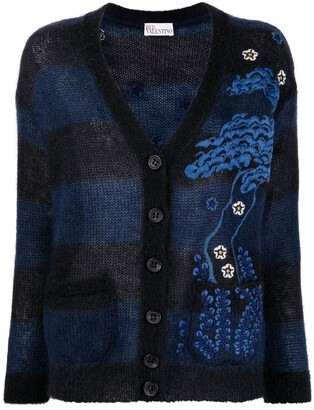 RED Valentino Intarsia-Knit Buttoned Cardigan