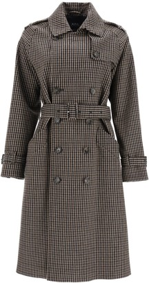 A.P.C. Greta Houndstooth Fabric Trench Coat