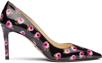 Prada Rose Print 85mm Pumps