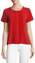 Karl Lagerfeld Paris Short Sleeve Pleat Front Bow Blouse