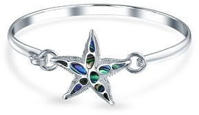Bling Jewelry Nautical Beach Starfish Abalone Shell Bangle Bracelet Sterling Silver
