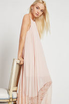 BCBGeneration Pleated Lace-Trimmed Midi Dress