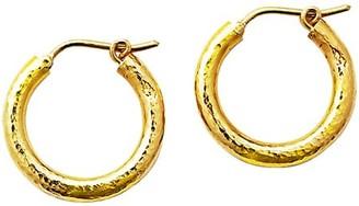 Elizabeth Locke Gold Hammered 19K Yellow Gold Small Hoop Earrings