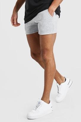 boohoo Mens Grey MAN Elastic Waist Short Length Jersey Short, Grey