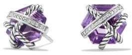 David Yurman Cable Wrap Earrings With Amethyst And Diamonds, 10Mm