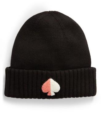 Kate Spade spade logo patch knit beanie