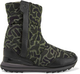 Y-3 + adidas Originals Rhita leather-trimmed printed quilted shell boots