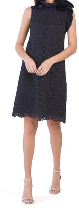 Lace Organza Ruffle Neck Dress