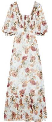 Nicholas Shirred Floral-print Silk-chiffon Maxi Dress