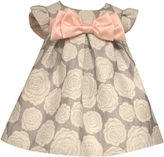 Bonnie Jean short sleeve rose brocade with satin bow - Baby Girls