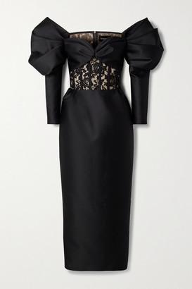 Rasario Off-the-shoulder Duchesse-satin Corded Lace Midi Dress - Black