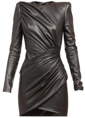 Alexandre Vauthier Draped Leather Mini Dress - Black