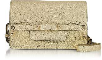RED Valentino Platinum Crackled Metallic Leather Flap Top Crossbody Bag