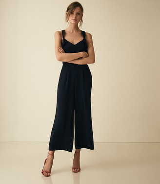 Reiss Amika - Bow Back Detail Jumpsuit in Navy