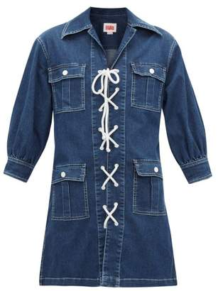 Solid & Striped Lace-up Denim Mini Shirtdress - Womens - Indigo