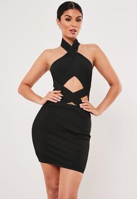 Missguided Premium Black Bandage Cross Front Cut Out Bodycon Mini Dress