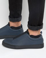 Asos Sneakers In Navy With Black Elastic And Neoprene Sock