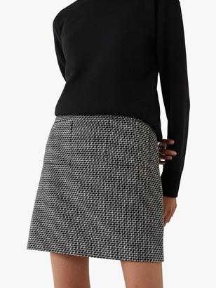 Warehouse Woven Pocket Pelmet Mini Skirt, Black Pattern