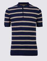 Marks and Spencer Pure Cotton Striped Knitted Slim Fit Polo
